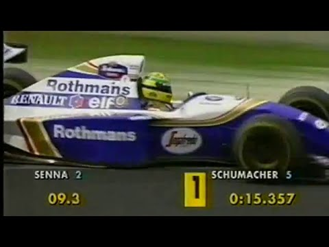 Ayrton Senna snatches pole position from Michael Schumacher at the 1994 Pacific Grand Prix at the TI Circuit Aida, Okayama Prefecture, Japan.