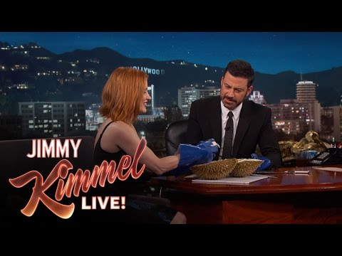 "Jessica Chastain and Jimmy Kimmel Eat the ""Bleu Cheese of Fruit"""
