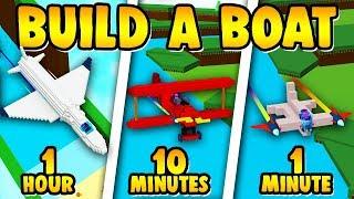 Build a Boat PLANE BUILDING CHALLENGE (1 Hour, 10 Minutes, 1 Minute)