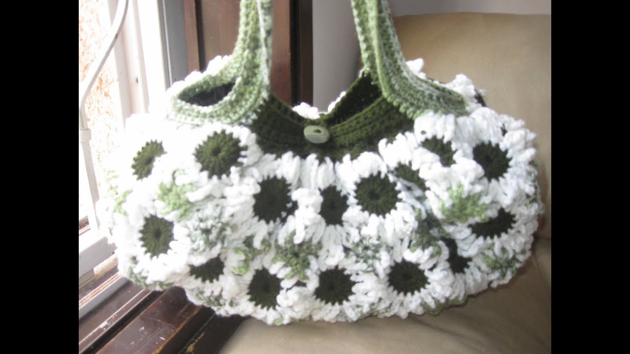 Crochet Flower Purse Tutorial 3 - Lining of the purses - YouTube