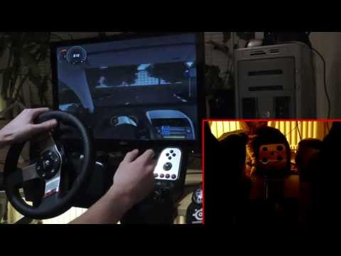 City Car Driving simulator 1.2.5 with Logitech G27 - gameplay. demonstration + cat licking my feet.