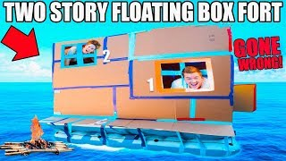2 STORY BOX FORT BOAT GONE WRONG!! 📦 ⛵️ 24 Hour Challenge: TV, Gaming Setup & More