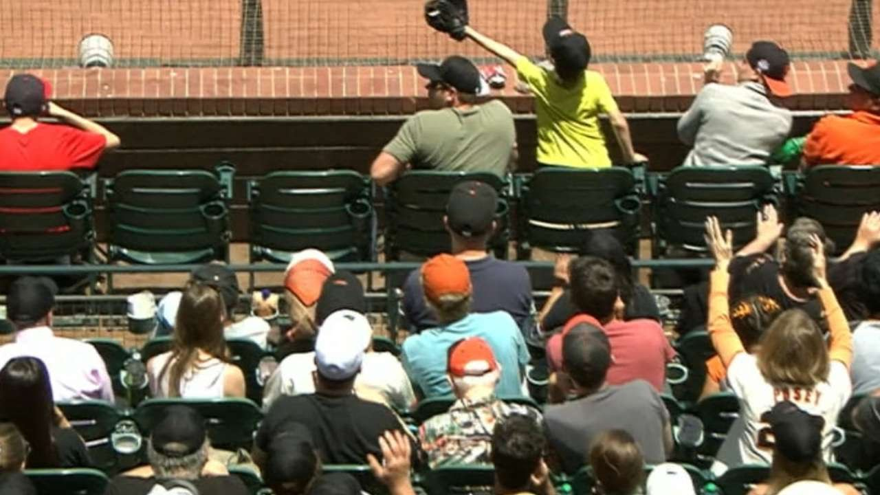 [Quick-Gloved Kid Saves Dad From Foul Ball] Video