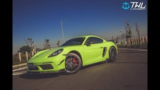 TWLCARBON Porsche 718 Cayman Warping car Lemon Green-TWL vacuum carbon fiber