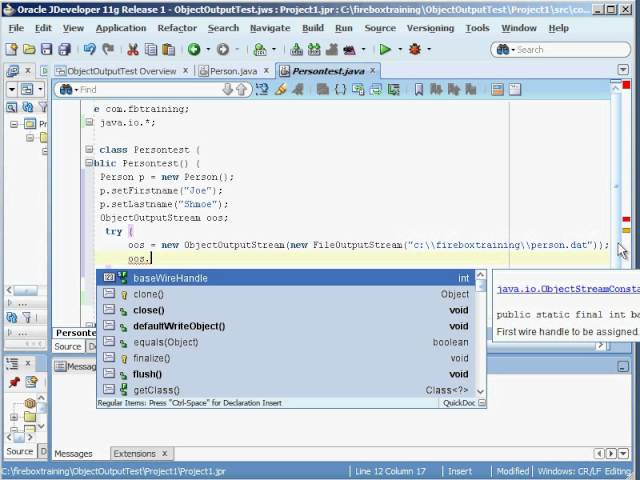 Java Training Tutorial | How to Create a Java ObjectOutputStream and Java InputStream using Java