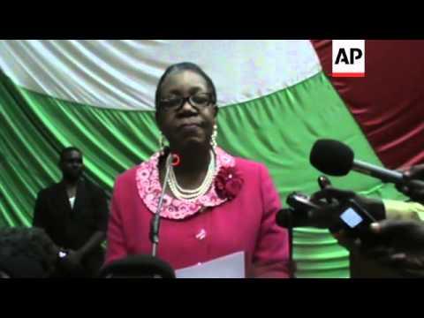 Female mayor of Central African Republic's capital chosen to lead country, first address, reax