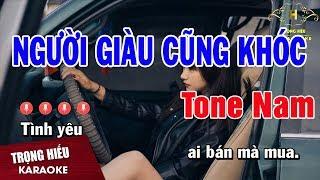 Karaoke Người Giàu Cũng Khóc Tone Nam Nhạc Sống   Trọng Hiếu