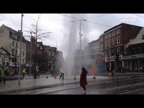 Pipe bursts in Old Market Square, Nottingham (PLATFORM MAGAZINE)