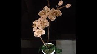 Орхидея персиковая. Beaded orchid.  Часть 3/3.Мастер-класс, бисероплетение. Biser.