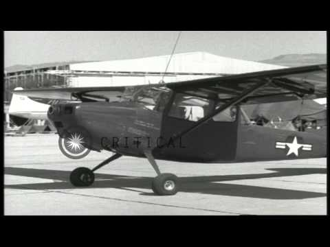 A US Army Cessna L-19 aircraft and a Sikorsky H-34 helicopter in Beirut, Lebanon ...HD Stock Footage