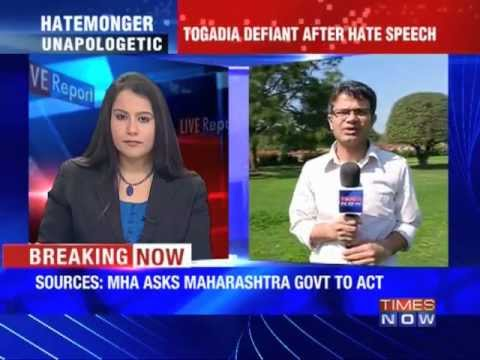MHA asks Maharashtra government to act against Togadia.