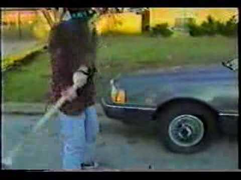 Dimebag Darrell destroys car