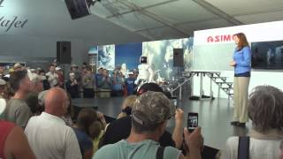Asimo humanoid robot by Honda presentation at Oshkosh airshow 2013.