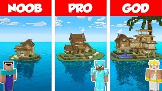 Minecraft NOOB vs PRO vs GOD: TROPICAL ISLAND HOUSE BUILD CHALLENGE in Minecraft / Animation