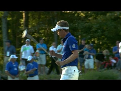 Luke Donald drains his birdie putt from 29 feet at Deutsche Bank