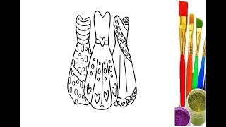 Little Girls Dresses Drawing and Coloring for Kids l Coloring Pages। Learn Color