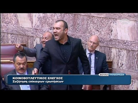 Golden Dawn and Syriza clash over 'Heil Hitler' cries in Greek parliament