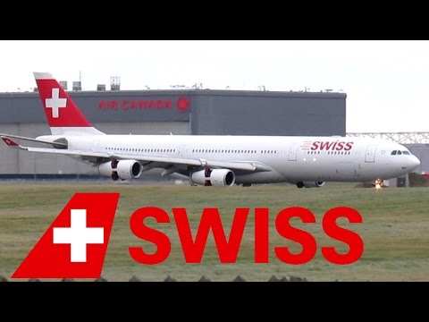 Swiss A340-300 (A343) landing & taxiing at YUL on 24R