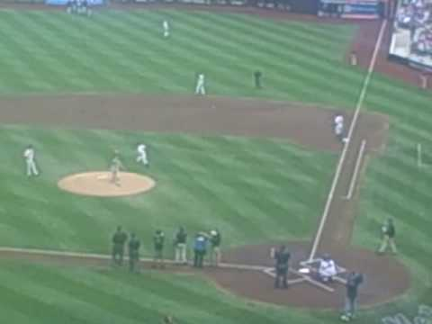 Gary Dell'abate (BabaBooey) from the Howard Stern Show throws the first pitch at Mets citi field