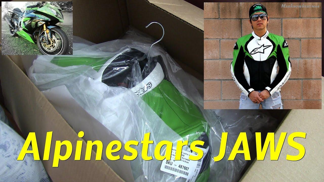 Alpinestars Jacket Leather >> Motorcycle Riding Gear - Unboxing/Unwrapping the Alpinestars JAWS leather jacket - YouTube