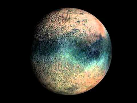 Rotation 3D n°2 de Triton, satellite de la planète Neptune