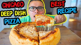 CHICAGO DEEP DISH PIZZA | Recipe | MUKBANG