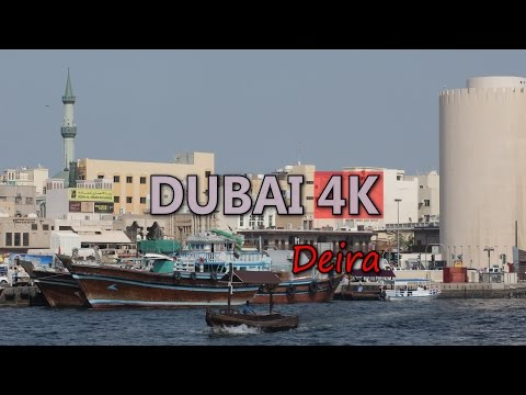 Ultra HD 4K Dubai Deira Creek Travel Shopping Old Souk Dhow Abra Boat UAE UHD Video Stock Footage