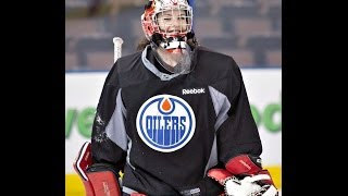 Goalie Shannon Szabados practices with Edmonton Oilers