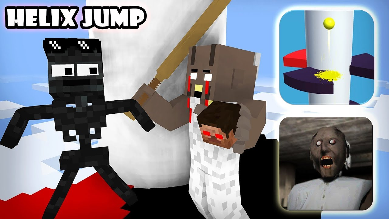 Monster School : GRANNY VS HELIX JUMP GAME CHALLENGE - Minecraft Animation