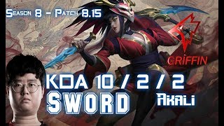GRF Sword AKALI vs YASUO Mid - Patch 8.15 KR Ranked