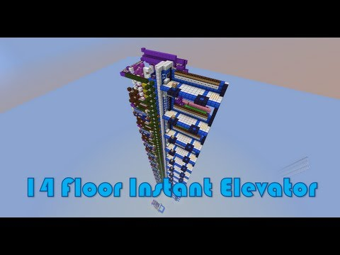 Minecraft 14 Floor Piston Elevator, Instant Call, Up & Down, Super Fast, Crazy Compact, Modular