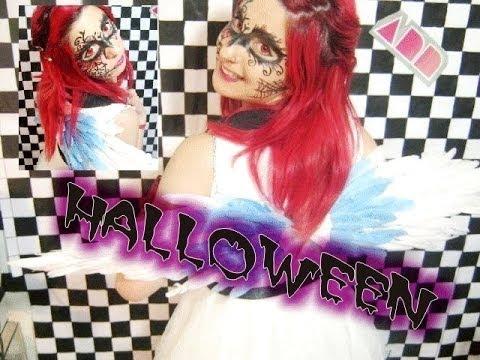 Halloween ♥ ¡maquillaje, peinado y crea tus alitas! (FÁCIL Y RÁPIDO)