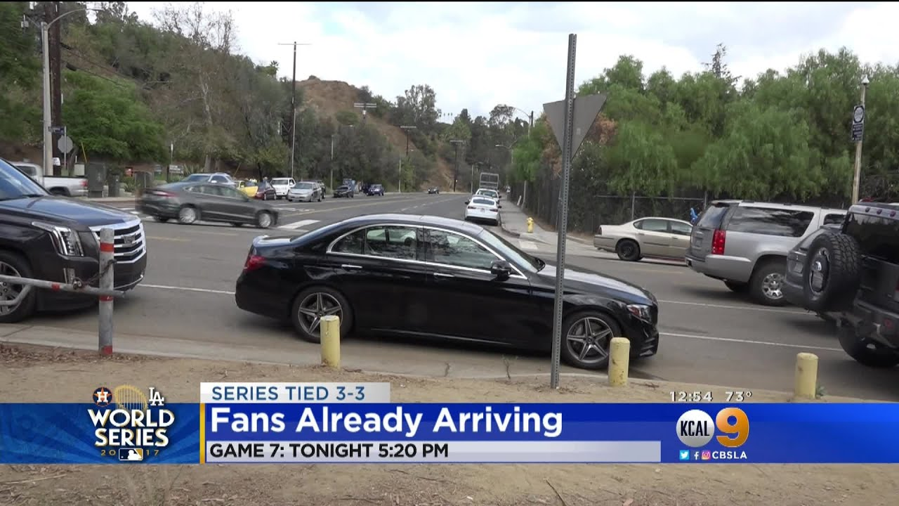 Fans Arrive Early At Dodger Stadium For Historic Game 7