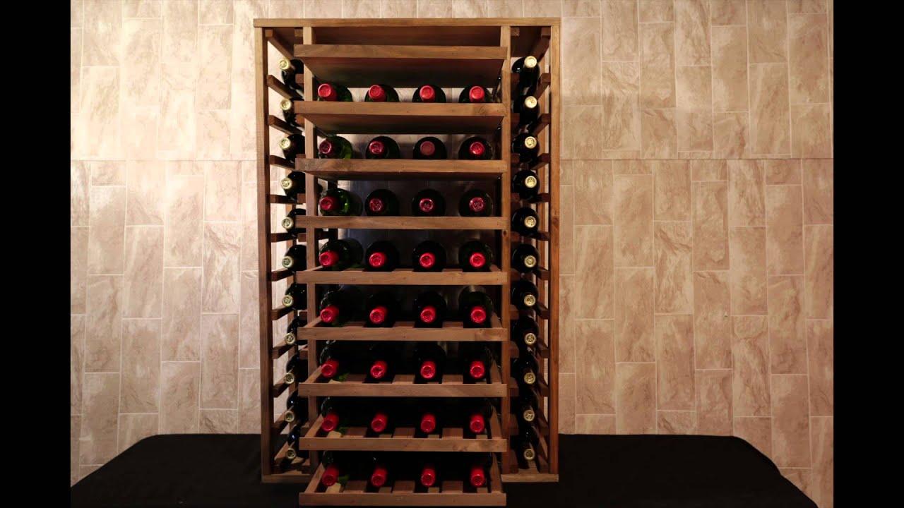 Botellero pino godello 58 botellas con 9 baldas extraibles - Botellero de madera para vino ...