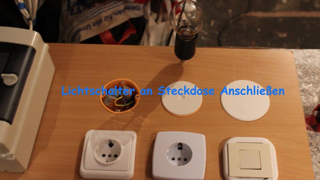 lichtschalter an steckdose anschlie en youtube. Black Bedroom Furniture Sets. Home Design Ideas
