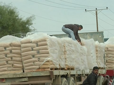 Raw: Construction Materials Allowed Into Gaza