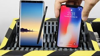 Experiment Shredding Samsung Note 8 VS Apple Iphone x | The Crusher