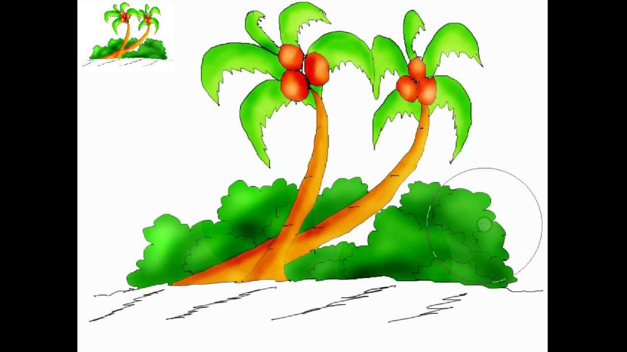 Kids art - How to draw a coconut tree - YouTube Coconut Tree Rainforest