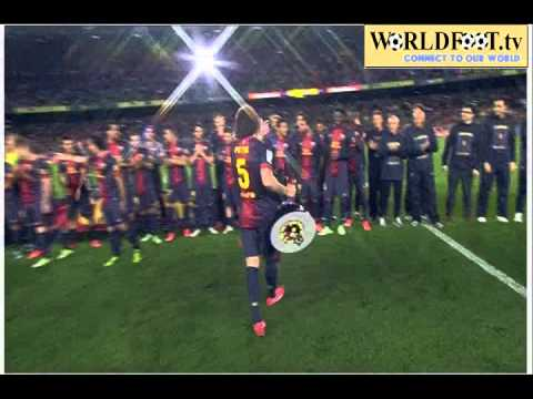 Alex Song Fail with Puyol Fc barcelona Celebrating the 2012 13 Liga title