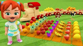 Wooden Toy Train Transport - Learning Fruits Names for Children  Kids Toys Little Baby Fun Play Edu