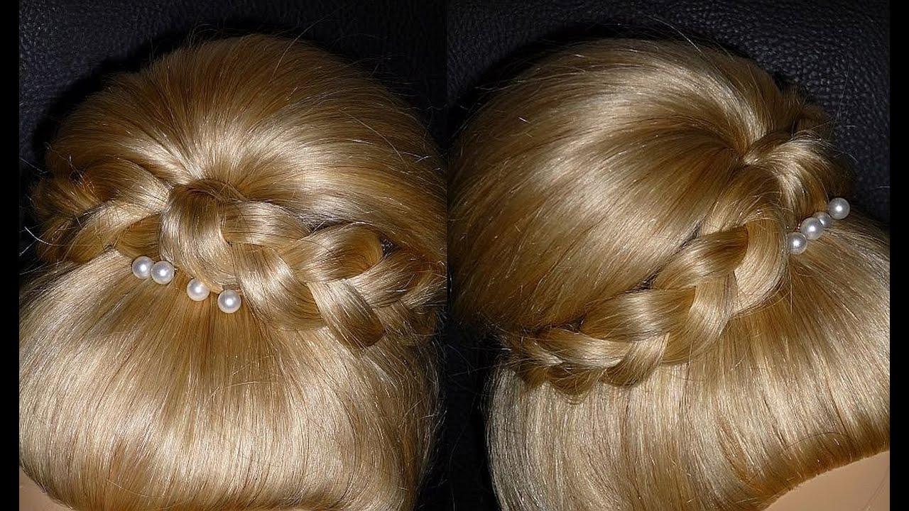 Вечерняя причёска на средние волосы с челкой своими руками