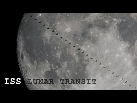 International Space Station (ISS) transits the Full Moon!