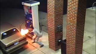 Man tries to kill spider with lighter at gas pump, starts huge fire
