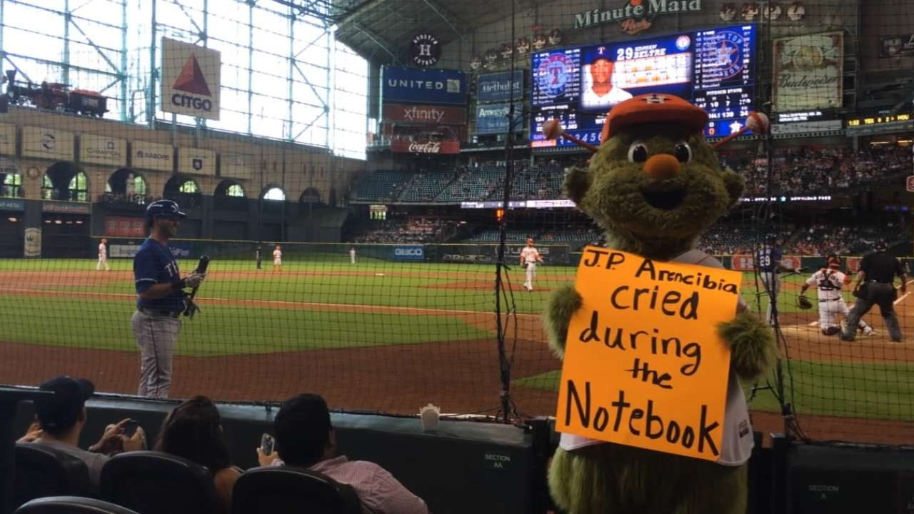 TEX@HOU: Orbit trolls Arencibia during Astros game