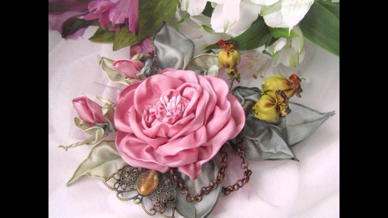 Вышивка лентами розы с листьями от мастера шепилова 63