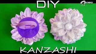 МК Канзаши. Резиночка для волос в технике Канзаши. Нежные фиолетовые тона. Рукоделие/DIY/Handmade