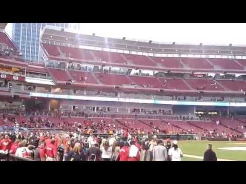 The Cincinnati Reds come back out on to the field after their win against the Los Angeles Dodgers on September 22, 2012, to celebrate clinching the National League Central Division Title for 2012.