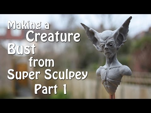 Making a Creature Bust from Super Sculpey Part 1 - Sculpting