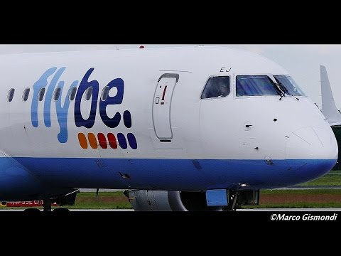 Flybe E195's pilots greet spotters after landing