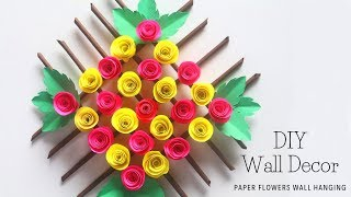 DIY Wall Decor with Paper Flowers | How To Make Wall Hanging with Paper